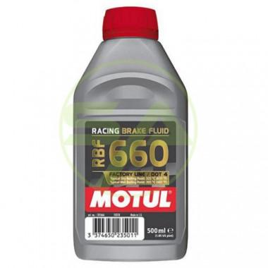 Liquide de frein Motul RBF660 DOT4 non miscible. Fluide synthétique 100% compétition