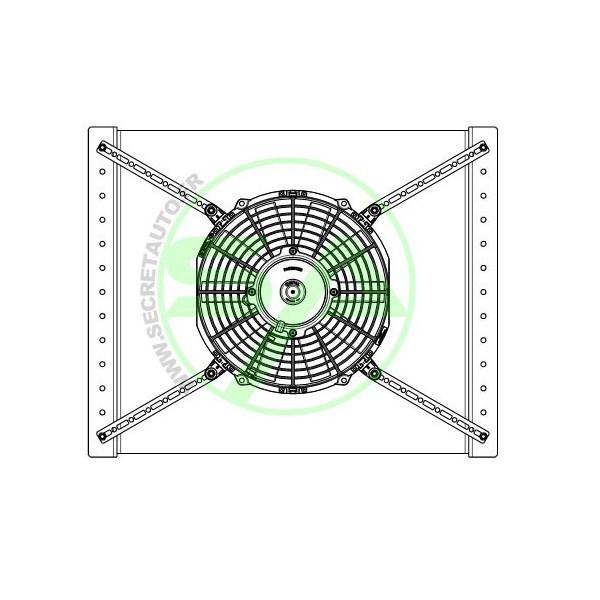 Support plastique + barrette métallique pour fixation de ventilateur Spal