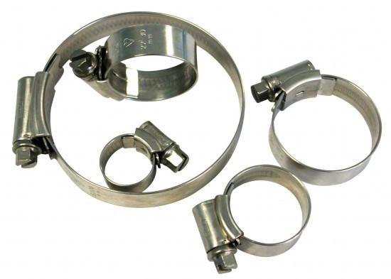 Colliers inox pour durites silicone diamètres 6.5 à 120 mm