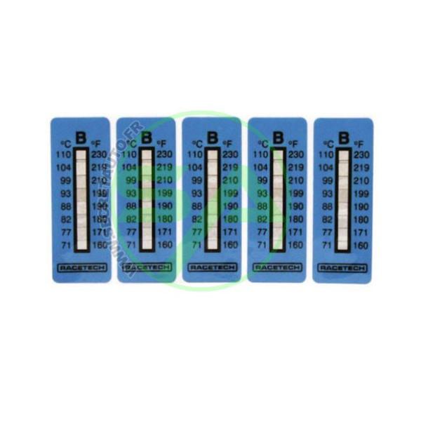 Indicateurs de température de 204°C à 260°C. Contient 10 autocollants.