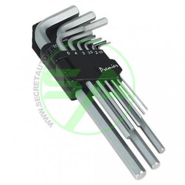 Jeu de 9 clés allen de 1,5 à 10 mm