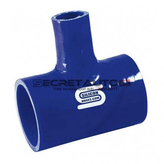 Té silicone Silicon Hoses couleur bleu avec sortie diamètre 25 mm