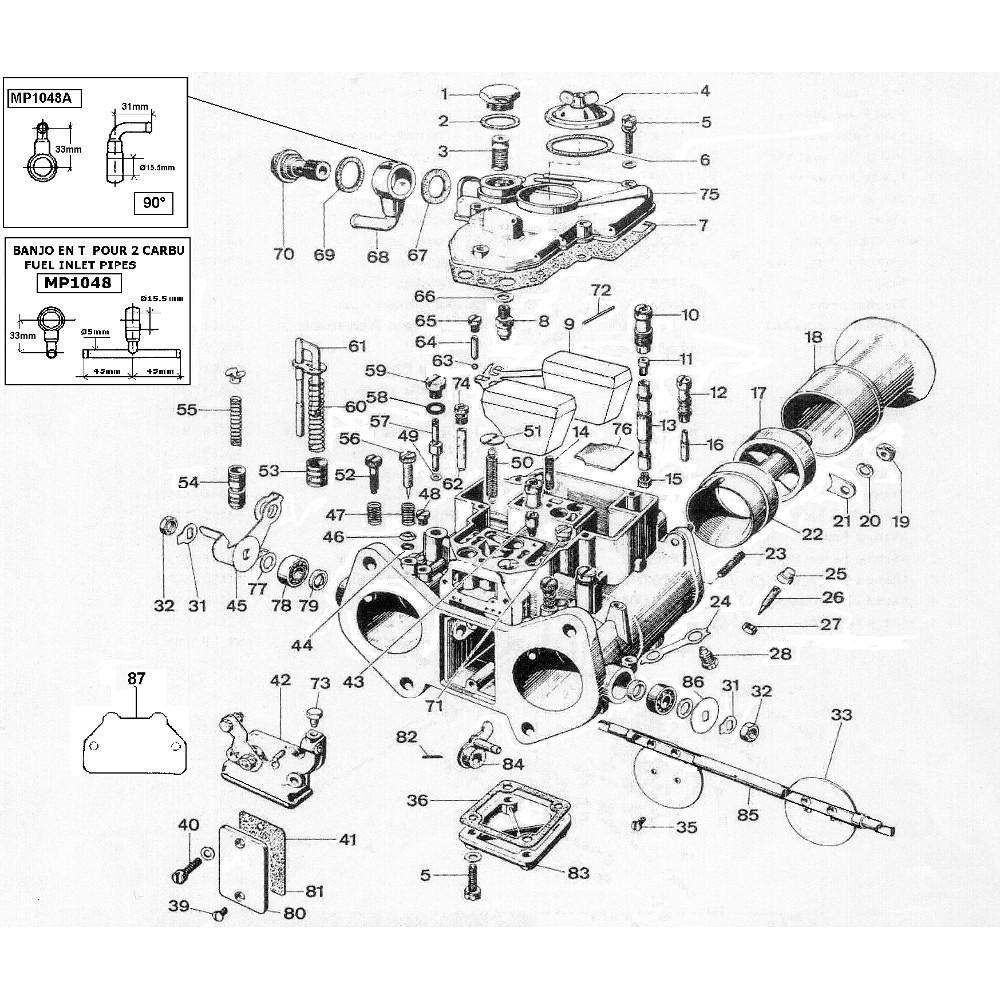 Vente de pi ces d tach es pour carburateur weber 40 45 dcoe - Weber pieces detachees ...
