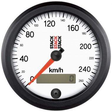 Manomètre Stack Ø80 mm - Compteur de vitesse 0 à 260km / h - Fond blanc