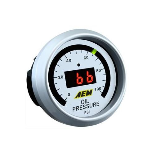 Manomètre digital AEM pour pression d'huile de 0 à 100 PSI.
