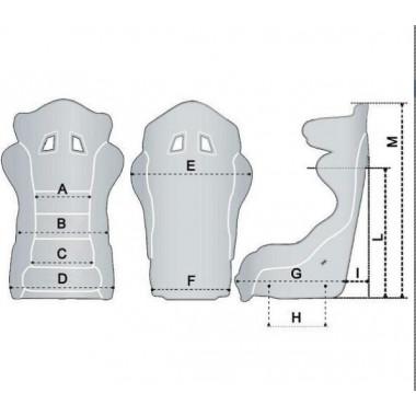 Dimensions baquet Sparco R100 - NON FIA
