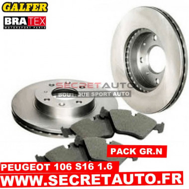 Pack freinage Groupe N pour Peugeot 106 1.6 S16.