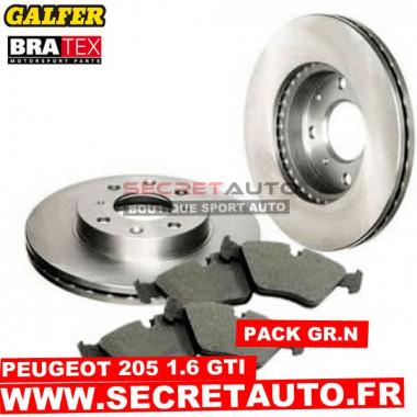 Pack freinage Groupe N pour Peugeot 205 GTI 1.6 avec étrier Bendix.