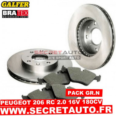 Pack freinage Groupe N pour Peugeot 206 RC 2.0 16s 180cv.