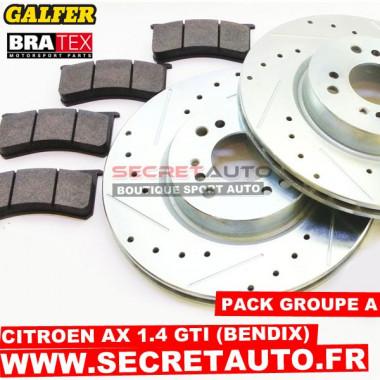 Pack freinage Groupe A pour Citroen AX 1.4 GTI (étrier Bendix).