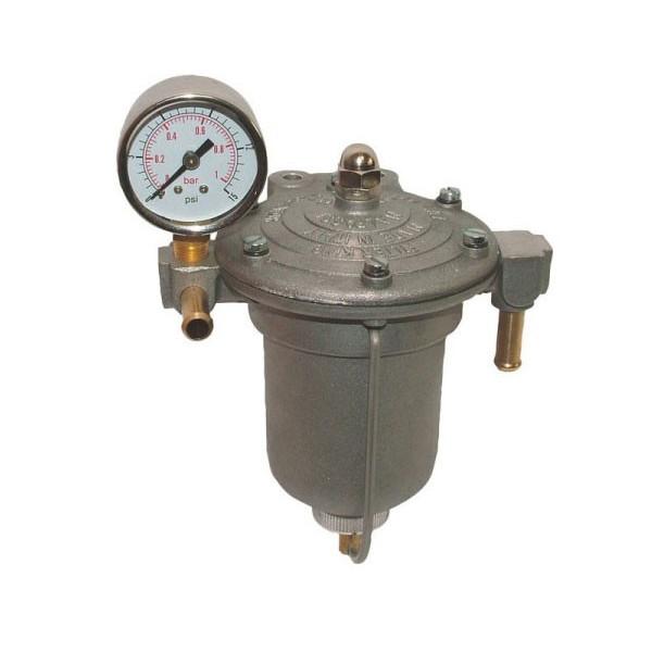 Régulateur de pression d'essence King 85 mm pour Carburateur avec manomètre. Modèle avec bocal en alu.