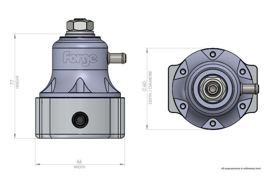 Dimensions régulateur de pression d'essence Forge Motorsport FMFPR1