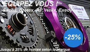 Remise jusqu'à 25% sur les embrayages Sachs, AP Racing, Exedy, Helix, Bratex, ...